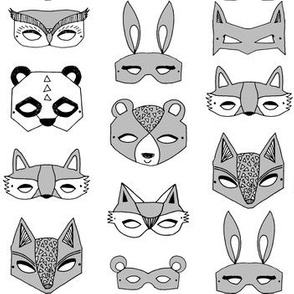 Animal Masks - Grey by Andrea Lauren