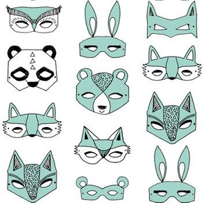 Animal Masks - Pale Turquoise by Andrea Lauren