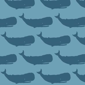 Whale XL denim on sea blue- 2015