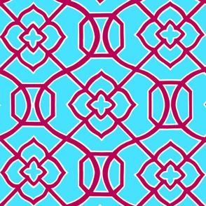 Moroccan_Lattice-_Aqua_Blue_and_Red