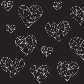 Geometric hearts black