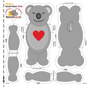 Sleepy Koala Bear Cut and Sew Doll