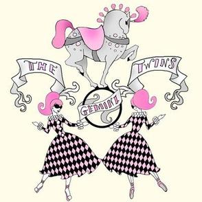 Gemini Twins retro circus zodiac