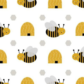 bumble bees and bee hives - cute golden hexagons bumble bee design