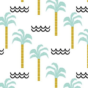 palm tree and waves -summer beach design with minimal scandi design