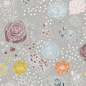 Muted Retro Flower Polka