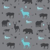 woodland animals in aqua and grey