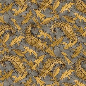 Golden Leaves on Gray