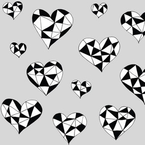 Geometric hearts grey
