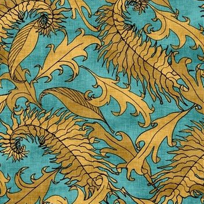 Golden Leaves on Teal