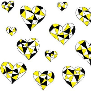 Geometric hearts yellow sparkles