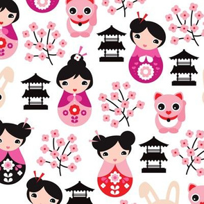 Japanese Geisha girls witch asian temple cats and cherry blossom in pink