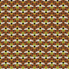 Bees and Honeycomb on Brown