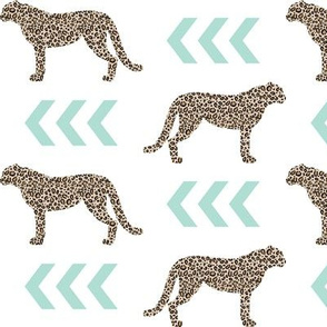 cheetah - mint chevron arrows animal leopard print
