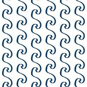 waves navy blue ocean minimal print