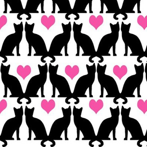 cats heart pink cute girly cat lady print