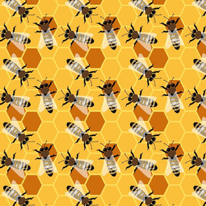 Bees in Their Honeycomb