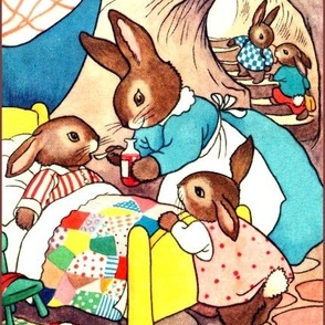 rabbits bunny family mothers children medicine patients sick siblings burrows holes homes pajamas vintage retro kitsch