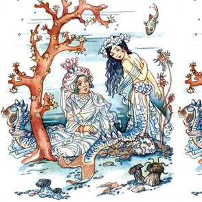 vintage mermaids ocean sea underwater fishes aquatic queen princess fairy tales stories fantasy mythical myths mythology corals reef anemones marine