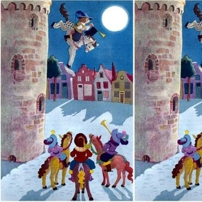 castles towns medieval horses night moon trumpets fairy tales vintage retro kitsch animals