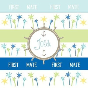 Anchors Lagoon Stripes-First Mate personalized