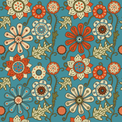 Burnt Orange and Turquoise Flowers