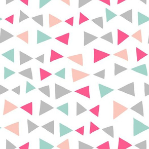 Tropical Triangles - Pale Pink, Bright Pink, Pale Turquoise, Slate by Andrea Lauren