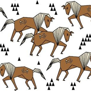 Geometric Horse - Brown and White by Andrea Lauren