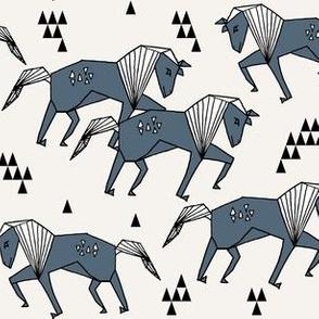 Geo Horse - Payne's Grey by Andrea Lauren