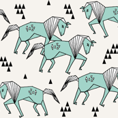Geometric Horse - Pale Turquoise by Andrea Lauren