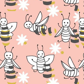 Bees - Pale Pink by Andrea Lauren