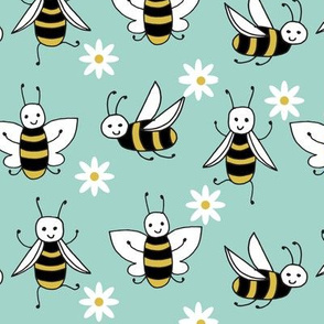 Bees - Pale Turquoise by Andrea Lauren