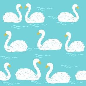 Swans in the Pond - Aqua by Andrea Lauren