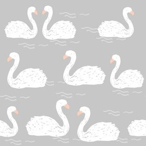 Swans in the Pond - Grey by Andrea Lauren