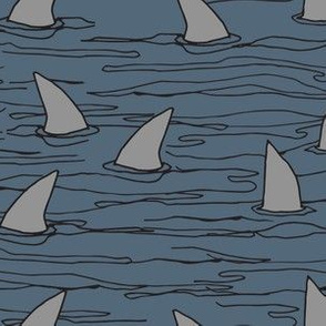 shark fin // grey blue sharks shark fin kids boys cute shark week fabric