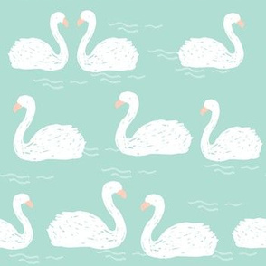 Swans in the Pond - Mint by Andrea Lauren