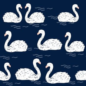 Swans in the Pond - Navy by Andrea Lauren