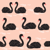 Swans in the Pond - Black with Pink by Andrea Lauren