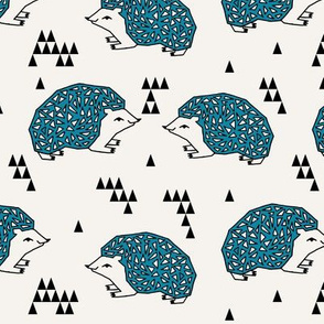 Geo Hedgehog - Teal and Cream by Andrea Lauren