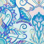 Teal Blue, Pearl & Pink Floral Pattern