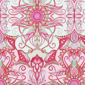 Art Nouveau Floral in Magenta & Mint