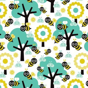 Buzzing spring bees - adorable bee illustration forest with flowers and trees