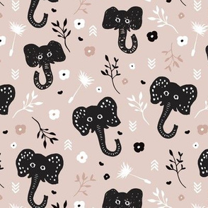 Cute gender neutral african elephant jungle theme illustration for kids beige black and white pattern