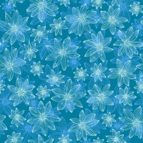 lifework flowers - blue and mint on teal