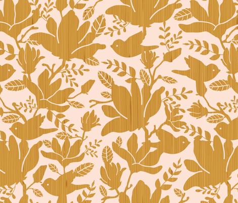 Textured wooden magnolia flowers