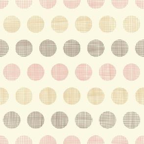 Textured vintage textile polka dots