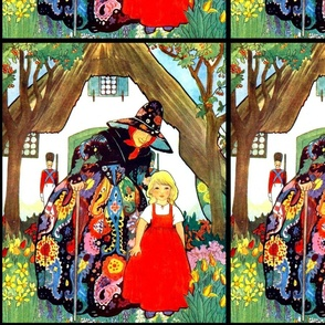 vintage whimsical rainbow witches children girl guards soldiers cottages forests sunflowers trees flowers cherry fairy tales story retro colorful