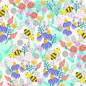Watercolor Bees Botanical Print