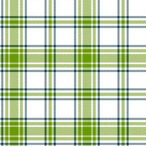 hiker's plaid - leaf green, navy and white