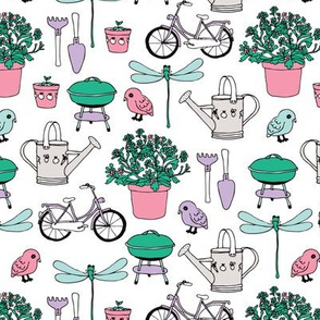 Spring and summer garden bbq bike birds and dragon fly icons of summer illustration print.